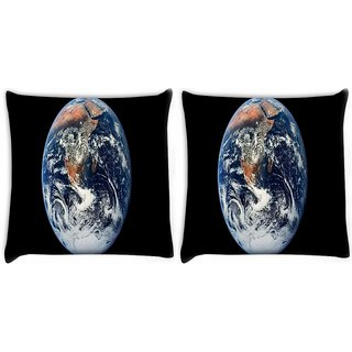 Snoogg Pack Of 2 Earth Digitally Printed Cushion Cover Pillow 10 x 10 Inch