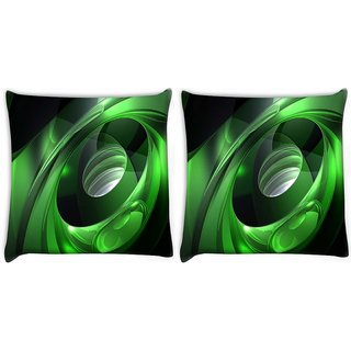 Snoogg Pack Of 2 Green Tribals Digitally Printed Cushion Cover Pillow 10 x 10 Inch