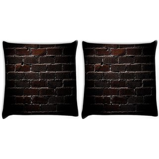Snoogg Pack Of 2 Bricks Wall Digitally Printed Cushion Cover Pillow 10 x 10 Inch