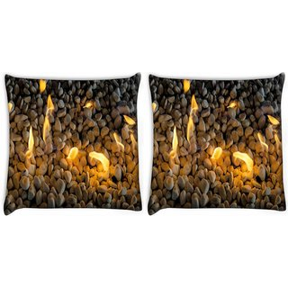 Snoogg Pack Of 2 Fire Pebble Digitally Printed Cushion Cover Pillow 10 x 10 Inch