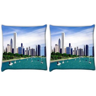Snoogg Pack Of 2 Day City Digitally Printed Cushion Cover Pillow 10 x 10 Inch