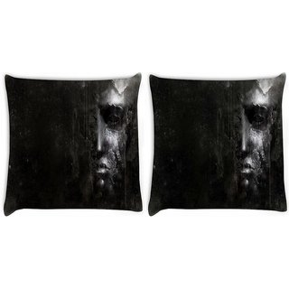 Snoogg Pack Of 2 Crying Face Digitally Printed Cushion Cover Pillow 10 x 10 Inch