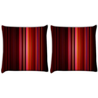 Snoogg Pack Of 2 Abstract Red Rays Digitally Printed Cushion Cover Pillow 10 x 10 Inch