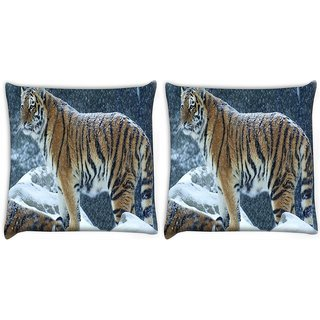 Snoogg Pack Of 2 Snow Tiger Digitally Printed Cushion Cover Pillow 10 x 10 Inch