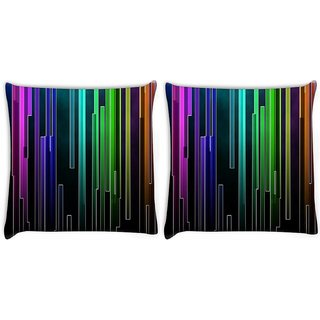 Snoogg Pack Of 2 Multicolor Rays Digitally Printed Cushion Cover Pillow 10 x 10 Inch