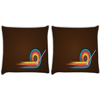 Snoogg Pack Of 2 Disc Table Digitally Printed Cushion Cover Pillow 10 x 10 Inch