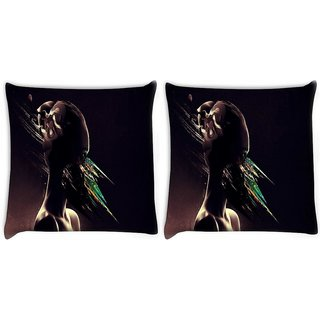 Snoogg Pack Of 2 Abstract Eyes Digitally Printed Cushion Cover Pillow 10 x 10 Inch