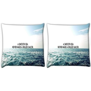Snoogg Pack Of 2 Smooth Sea Digitally Printed Cushion Cover Pillow 10 x 10 Inch