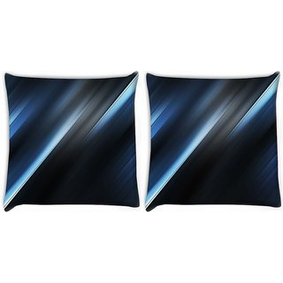 Snoogg Pack Of 2 Grey And Blue Waves Digitally Printed Cushion Cover Pillow 10 x 10 Inch