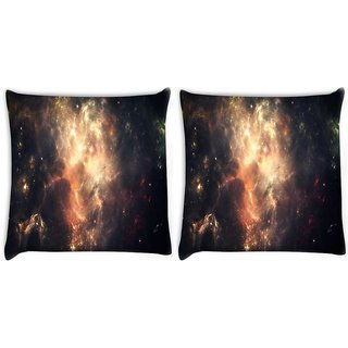 Snoogg Pack Of 2 Abstract Galaxy Digitally Printed Cushion Cover Pillow 10 x 10 Inch