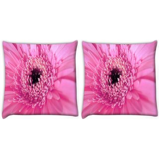 Snoogg Pack Of 2 Pink Petal Flower Digitally Printed Cushion Cover Pillow 10 x 10 Inch