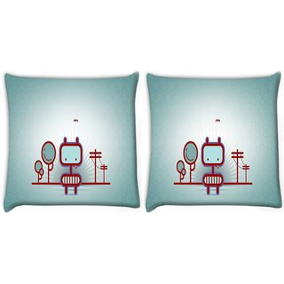 Snoogg Pack Of 2 Animated Street Digitally Printed Cushion Cover Pillow 10 x 10 Inch