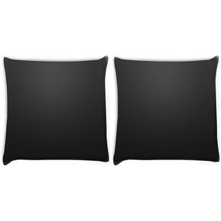 Snoogg Pack Of 2 Plain Black Wall Digitally Printed Cushion Cover Pillow 10 x 10 Inch