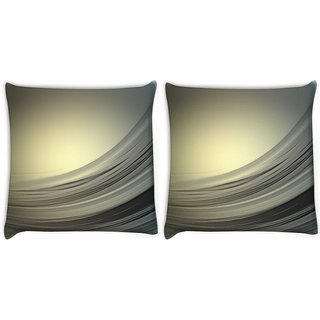 Snoogg Pack Of 2 Golden Light Wave Digitally Printed Cushion Cover Pillow 10 x 10 Inch