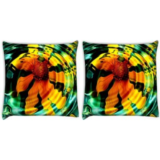 Snoogg Pack Of 2 Echos Silence Patience Grace Digitally Printed Cushion Cover Pillow 10 x 10 Inch