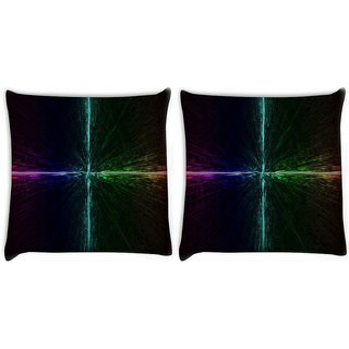 Snoogg Pack Of 2 Electric Colors Abstract Digitally Printed Cushion Cover Pillow 10 x 10 Inch