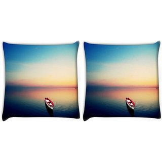 Snoogg Pack Of 2 Empty Boat Under The Dusk Sky Digitally Printed Cushion Cover Pillow 10 x 10 Inch