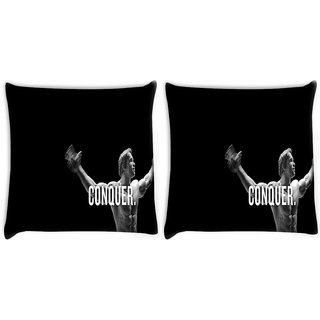 Snoogg Pack Of 2 Exercise Motivation Digitally Printed Cushion Cover Pillow 10 x 10 Inch