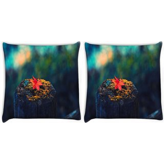 Snoogg Pack Of 2 Fallen Leaf On The Tree Trunk Digitally Printed Cushion Cover Pillow 10 x 10 Inch