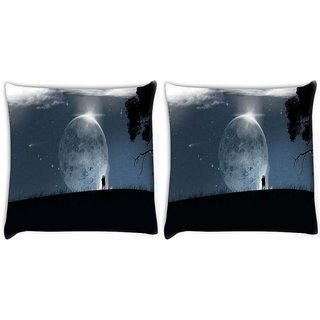 Snoogg Pack Of 2 Fantasy Wallpaper Digitally Printed Cushion Cover Pillow 10 x 10 Inch