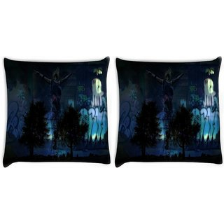 Snoogg Pack Of 2 Fantasy Digitally Printed Cushion Cover Pillow 10 x 10 Inch