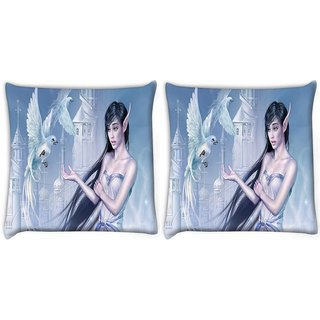 Snoogg Pack Of 2 Elf Girl Digitally Printed Cushion Cover Pillow 10 x 10 Inch