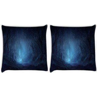 Snoogg Pack Of 2 Fantasy Wood Castle Digitally Printed Cushion Cover Pillow 10 x 10 Inch