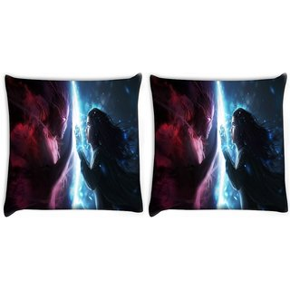 Snoogg Pack Of 2 Art Work Magic Hunter Digitally Printed Cushion Cover Pillow 10 x 10 Inch