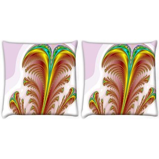 Snoogg Pack Of 2 Feather Digitally Printed Cushion Cover Pillow 10 x 10 Inch
