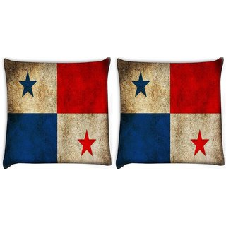 Snoogg Pack Of 2 Panama Digitally Printed Cushion Cover Pillow 10 x 10 Inch