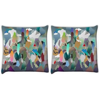 Snoogg Pack Of 2 Paper Ring Of Fire Digitally Printed Cushion Cover Pillow 10 x 10 Inch