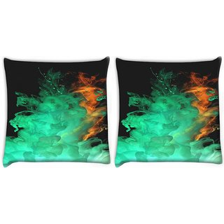 Snoogg Pack Of 2 Red Green Smoke Digitally Printed Cushion Cover Pillow 10 x 10 Inch