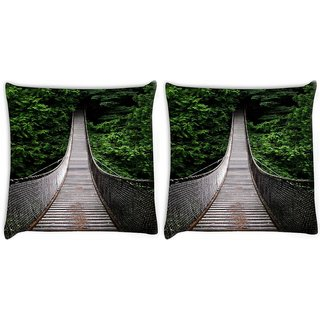 Snoogg Pack Of 2 One-Way-Home Digitally Printed Cushion Cover Pillow 10 x 10 Inch