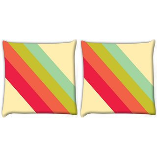 Snoogg Pack Of 2 Pastel Stripes Vector Digitally Printed Cushion Cover Pillow 10 x 10 Inch