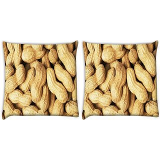 Snoogg Pack Of 2 Peanuts Digitally Printed Cushion Cover Pillow 10 x 10 Inch
