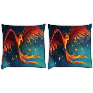 Snoogg Pack Of 2 Phoenix Fire Bird Digitally Printed Cushion Cover Pillow 10 x 10 Inch