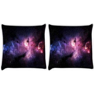 Snoogg Pack Of 2 Inner Space Digitally Printed Cushion Cover Pillow 10 x 10 Inch