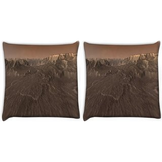 Snoogg Pack Of 2 Moon Space Digitally Printed Cushion Cover Pillow 10 x 10 Inch