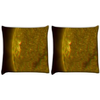 Snoogg Pack Of 2 Venus Side Digitally Printed Cushion Cover Pillow 10 x 10 Inch