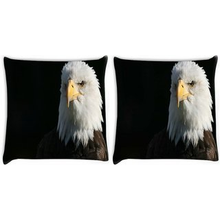 Snoogg Pack Of 2 Bald Eagle Digitally Printed Cushion Cover Pillow 10 x 10 Inch