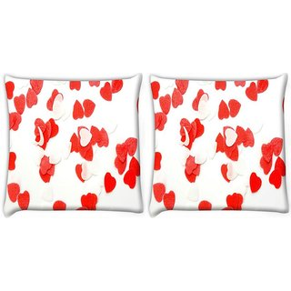 Snoogg Pack Of 2 Plenty Of Love Hearts Digitally Printed Cushion Cover Pillow 10 x 10 Inch