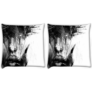 Snoogg Pack Of 2 Portrait Digital Digitally Printed Cushion Cover Pillow 10 x 10 Inch