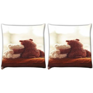 Snoogg Pack Of 2 Amor Girly Love Digitally Printed Cushion Cover Pillow 10 x 10 Inch