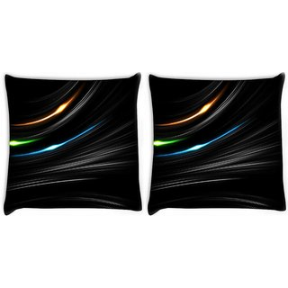 Snoogg Pack Of 2 Multicolor Light In Black Background Digitally Printed Cushion Cover Pillow 10 x 10 Inch