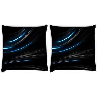 Snoogg Pack Of 2 Blue Light In Black Background Digitally Printed Cushion Cover Pillow 10 x 10 Inch