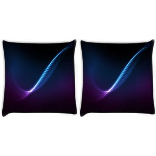 Snoogg Pack Of 2 Blue And Purple Ray In Black Background Digitally Printed Cushion Cover Pillow 10 x 10 Inch