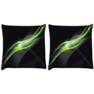 Snoogg Pack Of 2 Abstract Green And Grey Design Digitally Printed Cushion Cover Pillow 10 x 10 Inch