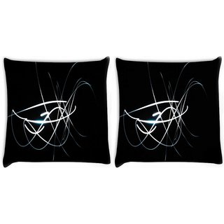 Snoogg Pack Of 2 White Lines In Black Digitally Printed Cushion Cover Pillow 10 x 10 Inch