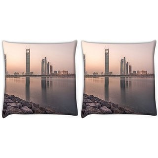 Snoogg Pack Of 2 Building Near Lake Side Digitally Printed Cushion Cover Pillow 10 x 10 Inch