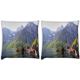 Snoogg Pack Of 2 House Near River Side Digitally Printed Cushion Cover Pillow 10 x 10 Inch